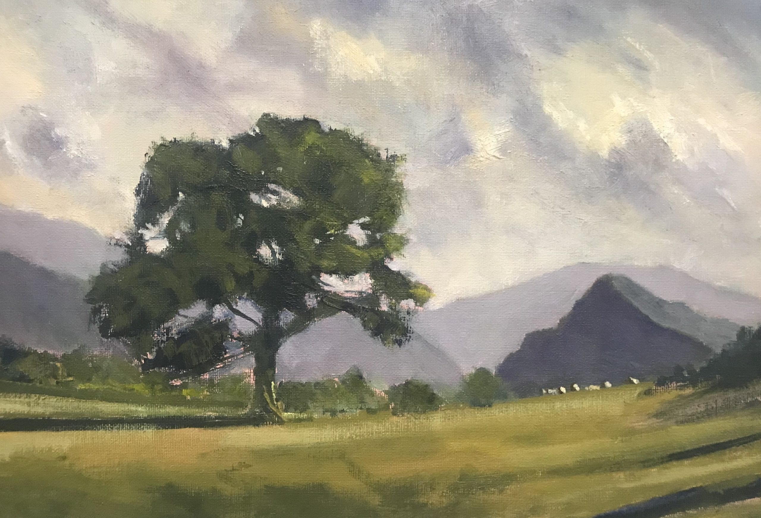 A painting of Bird Rock, a well known landmark at the bottom of Snowdonia National Park.