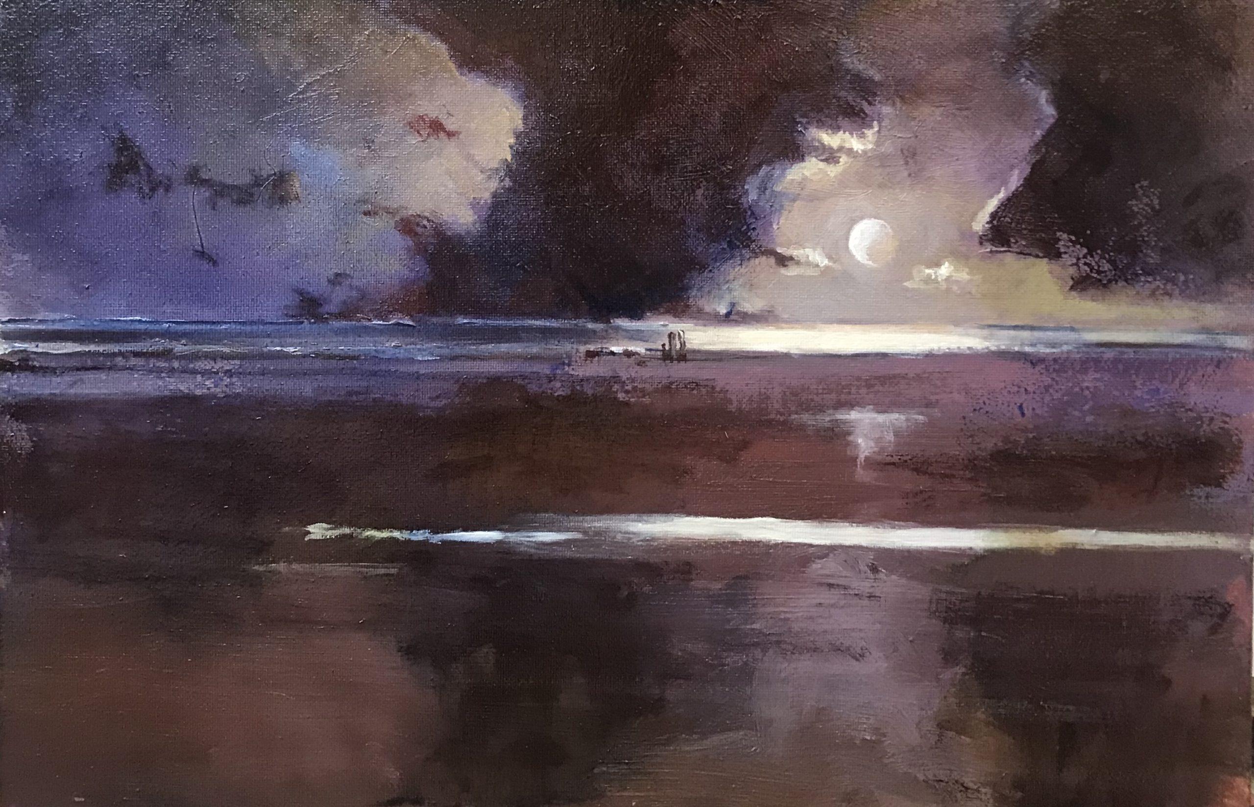 Full Moon over the beach at Aberdyfi